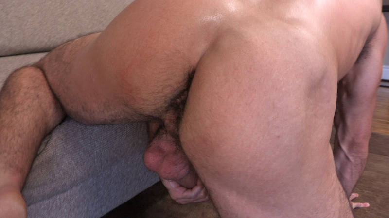 straight man's hairy ass while jacking off