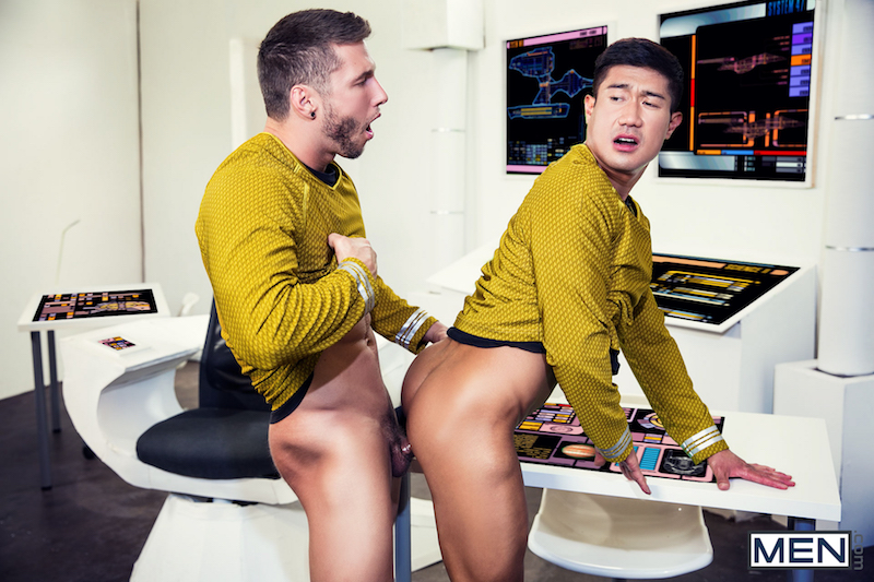 gay men fucking in a Star Trek parody porn movie