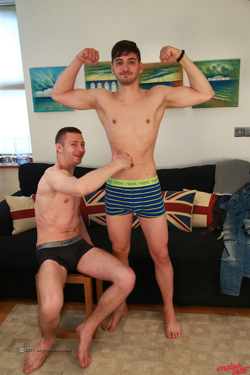 two straight friends playing in a gay porn shoot