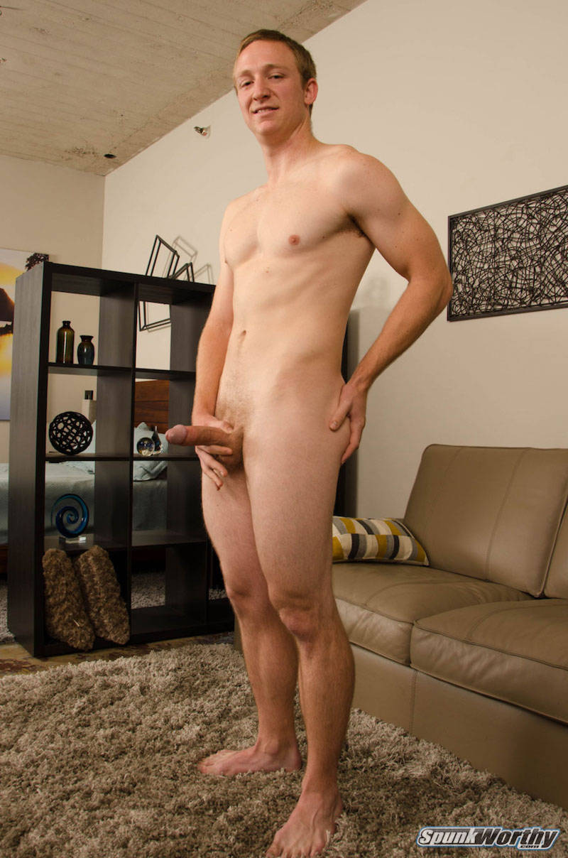 straight guy standing with a hard cock