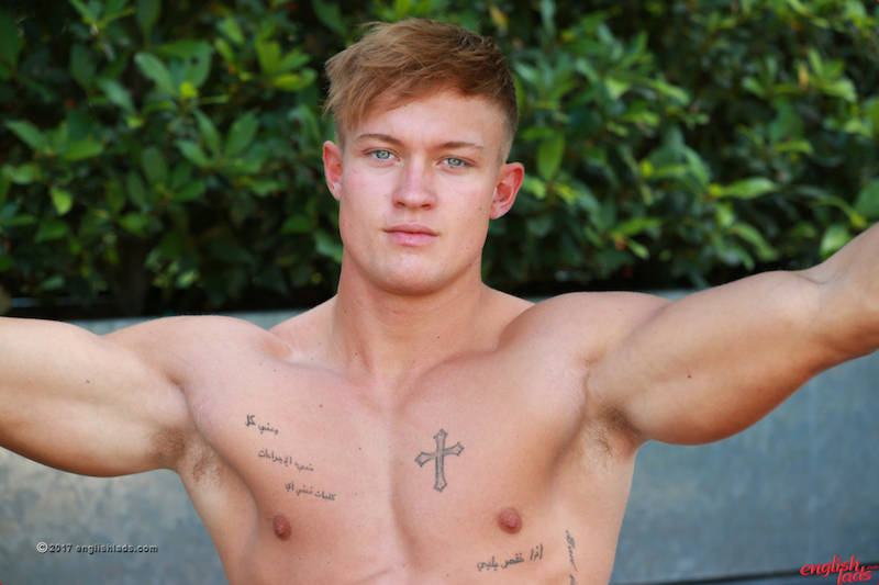 handsome British muscle guy in gay porn
