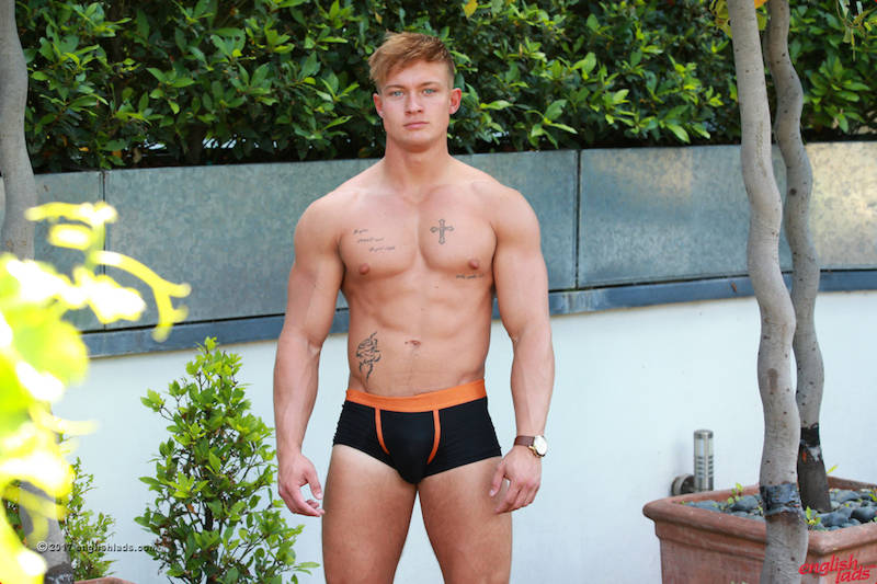 big muscle guy Albie Wicks in his underwear at Englishlads