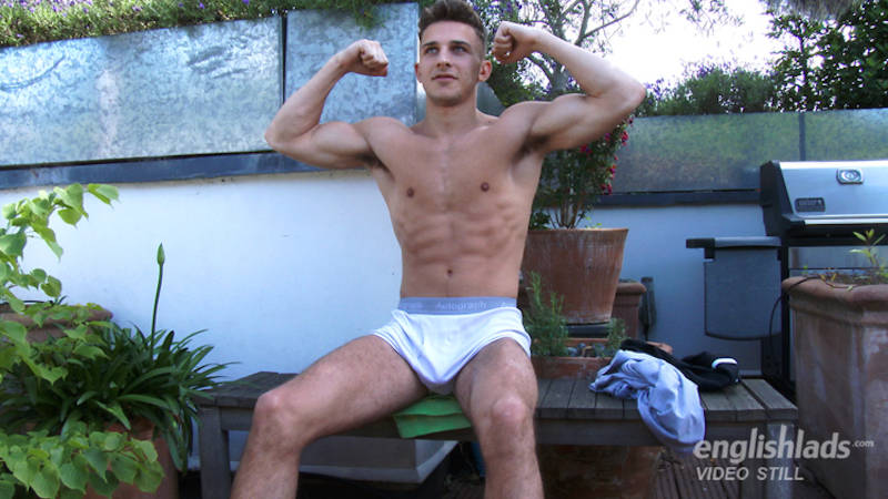 staight twink in his underwear outside