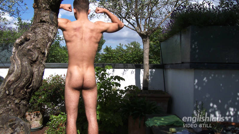 naked straight guy outside showing his ass