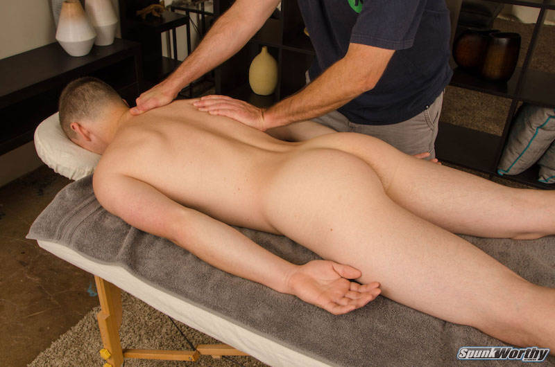 naked straight guy in a gay massage video