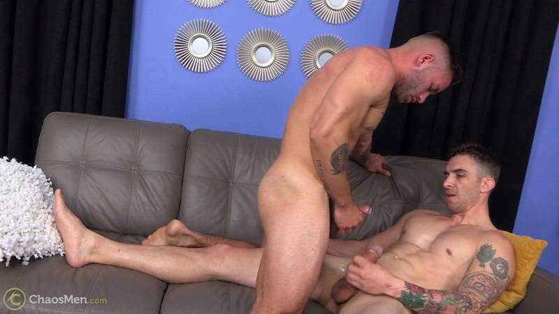 straight jock cumming over another man's cock
