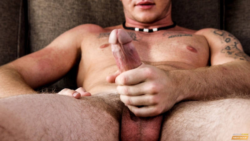 jock with a hard cock jerking off