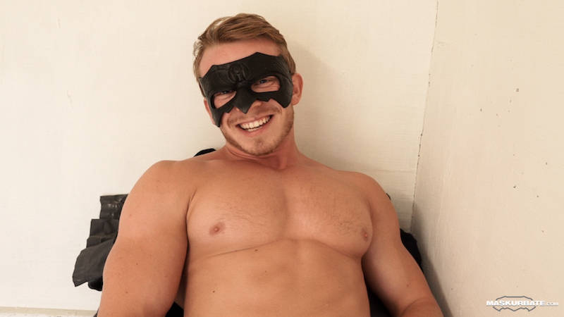 masked and naked man happy after jacking off