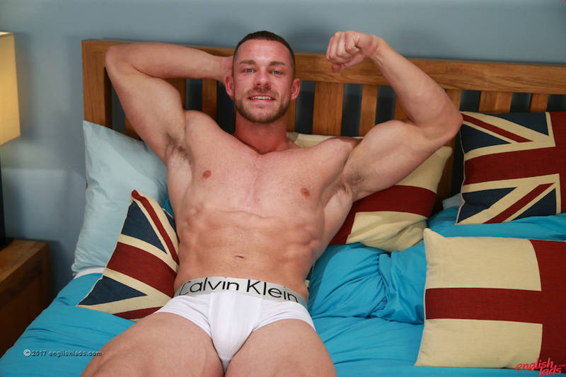 straight muscle hunk Conall Timpson in a jack off solo shoot for Englishlads
