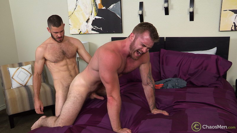 straight muscle man getting fucked bareback on a bed