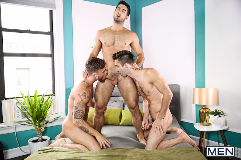 two jocks sucking another guys cock