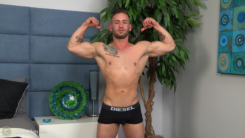straight muscle jock flexing in his underwear