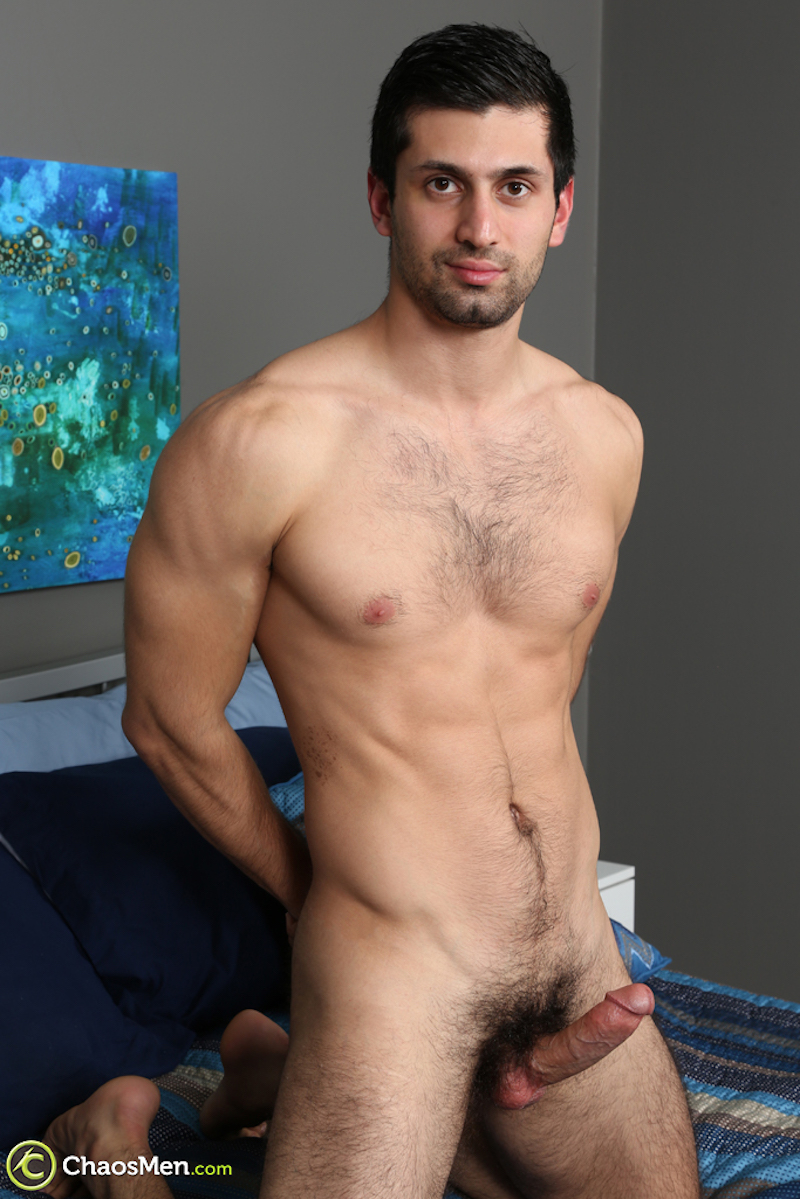 naked and hard straight guy in a jack off video