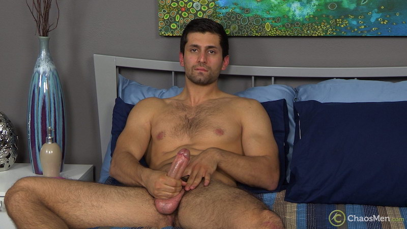 straight jock stroking his thick cock on video for Chaosmen