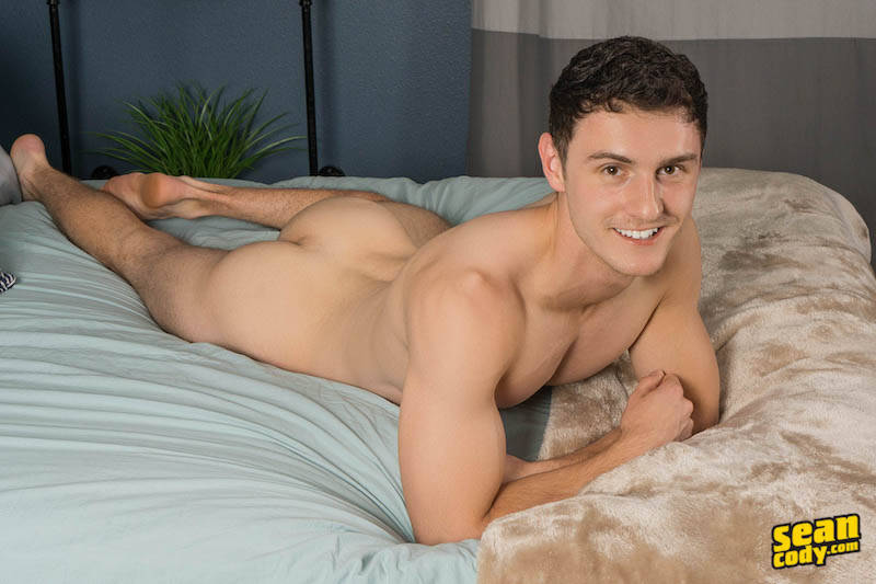 Sexy new guy Ramsey laying naked on the bed for his solo jerk off video