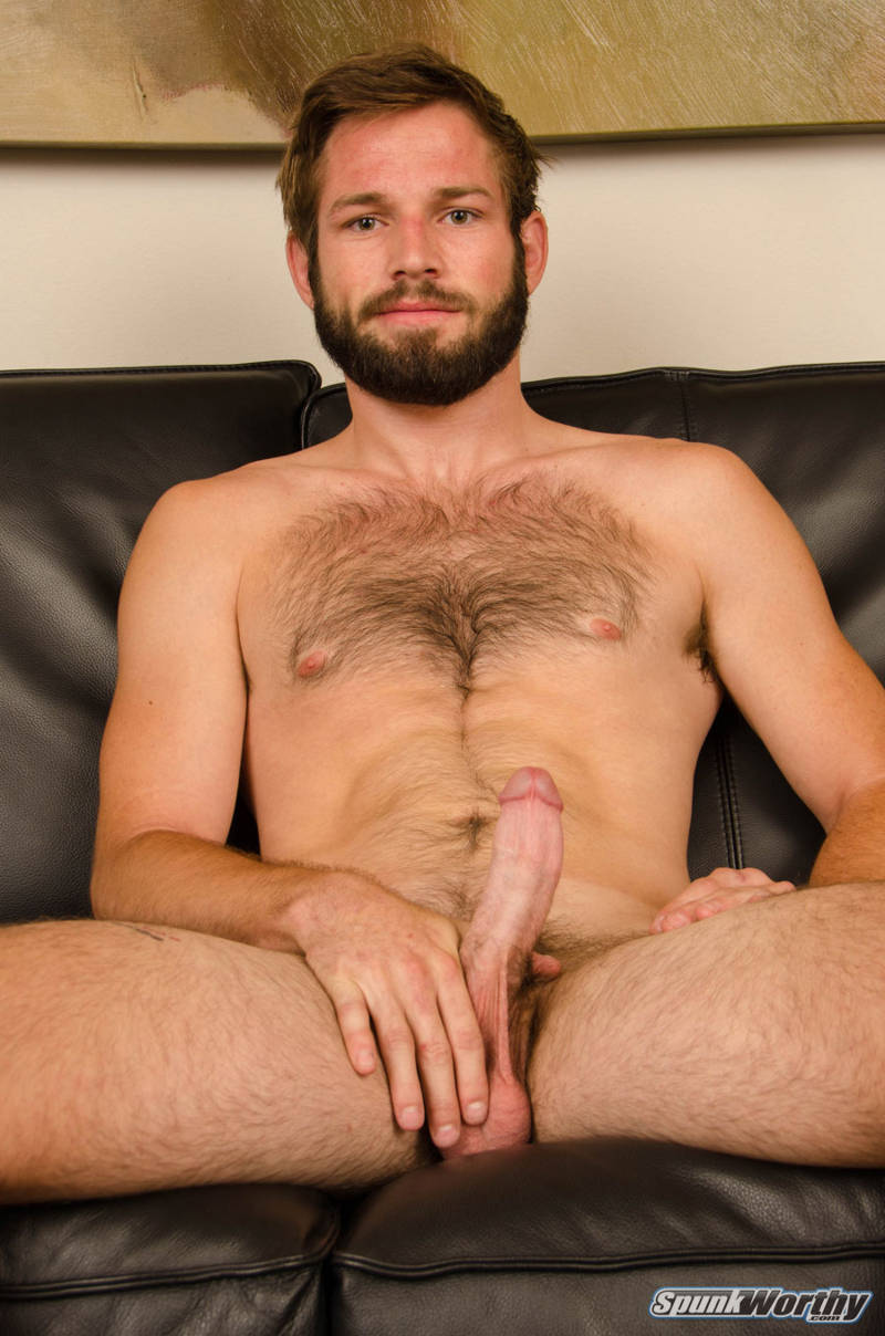 hairy naked straight guy with a hard cock