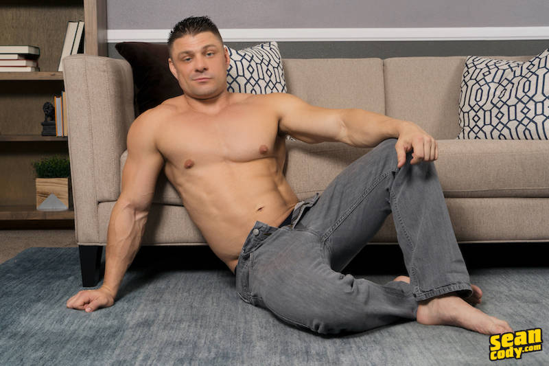 Huge mucle man in solo jack off for Sean Cody