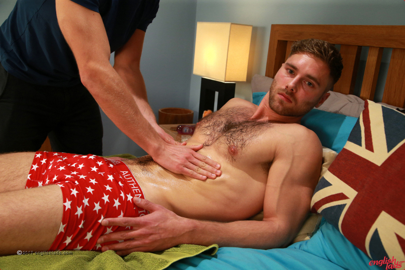 straight guy being massaged by another man