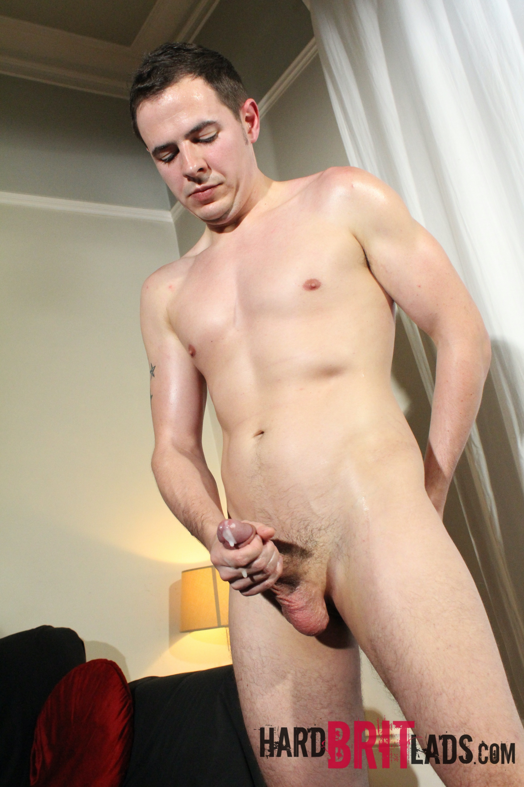 hung twink standing and cumming
