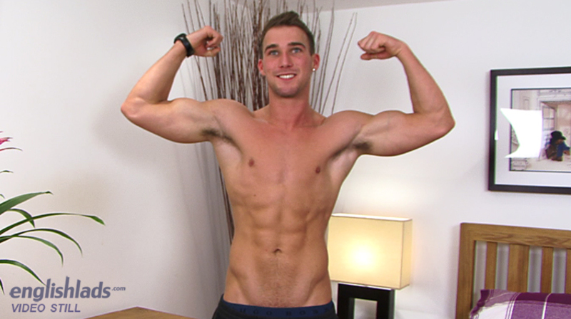 Handsome straight jock Rich Wills flexing his body on camera for Englishlads