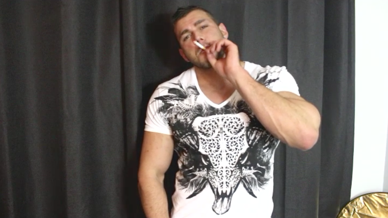 muscle man smoking