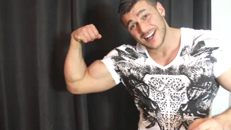 muscle man flexing his arms