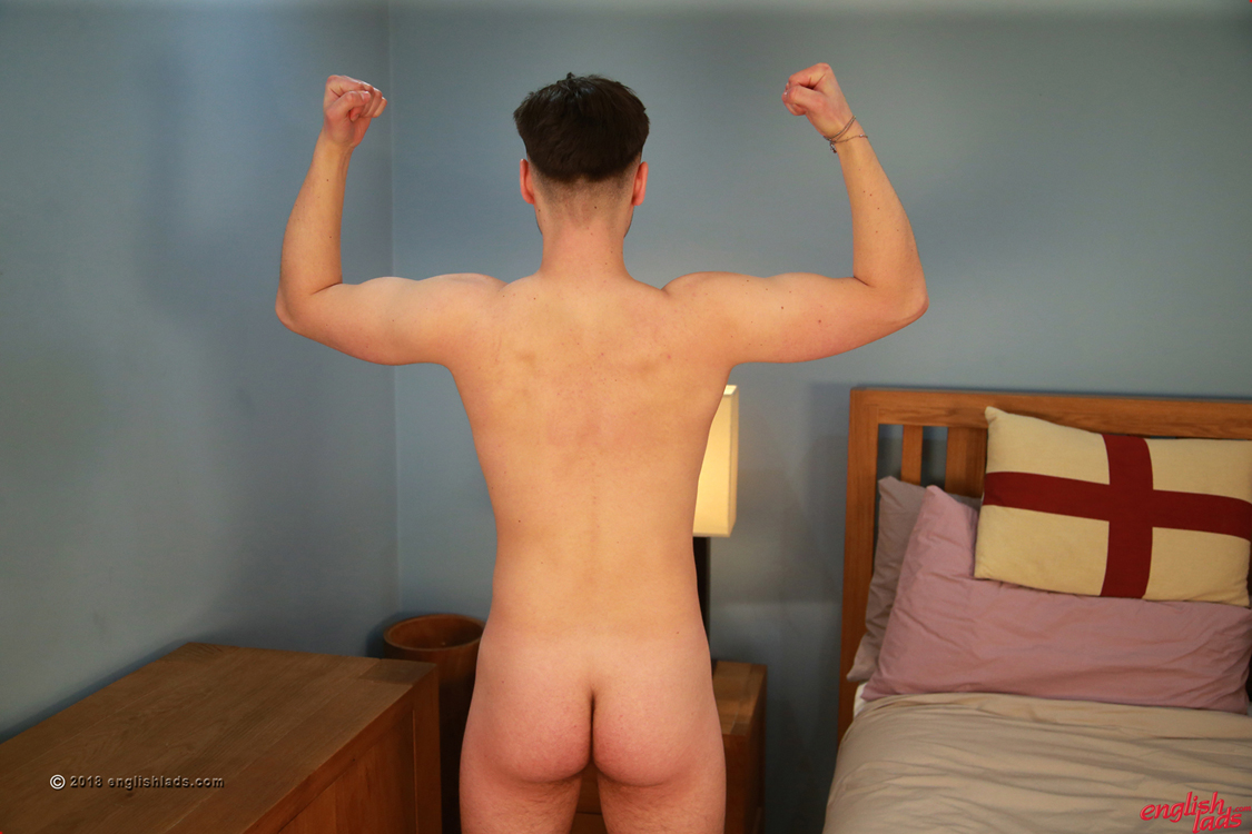 naked footballer player Mason Mount standing and facing away from the camera to show off his butt