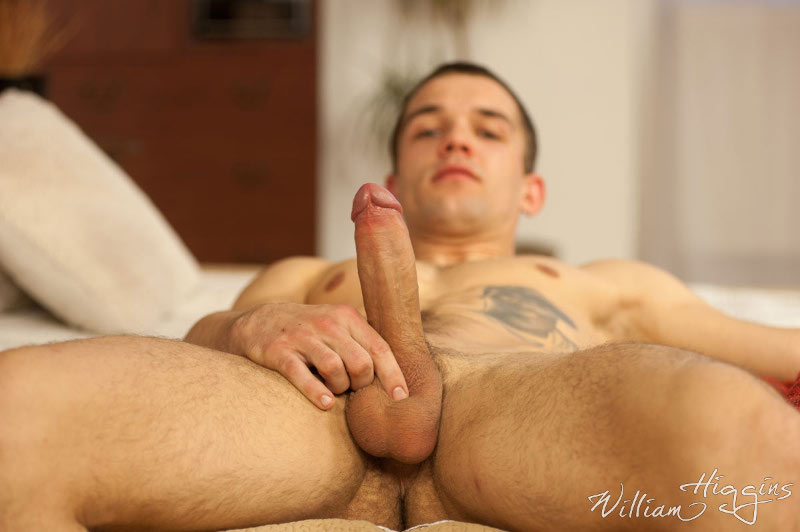 Handsome straight jock Ludek Stano laying back with his hard uncut cock standing proud