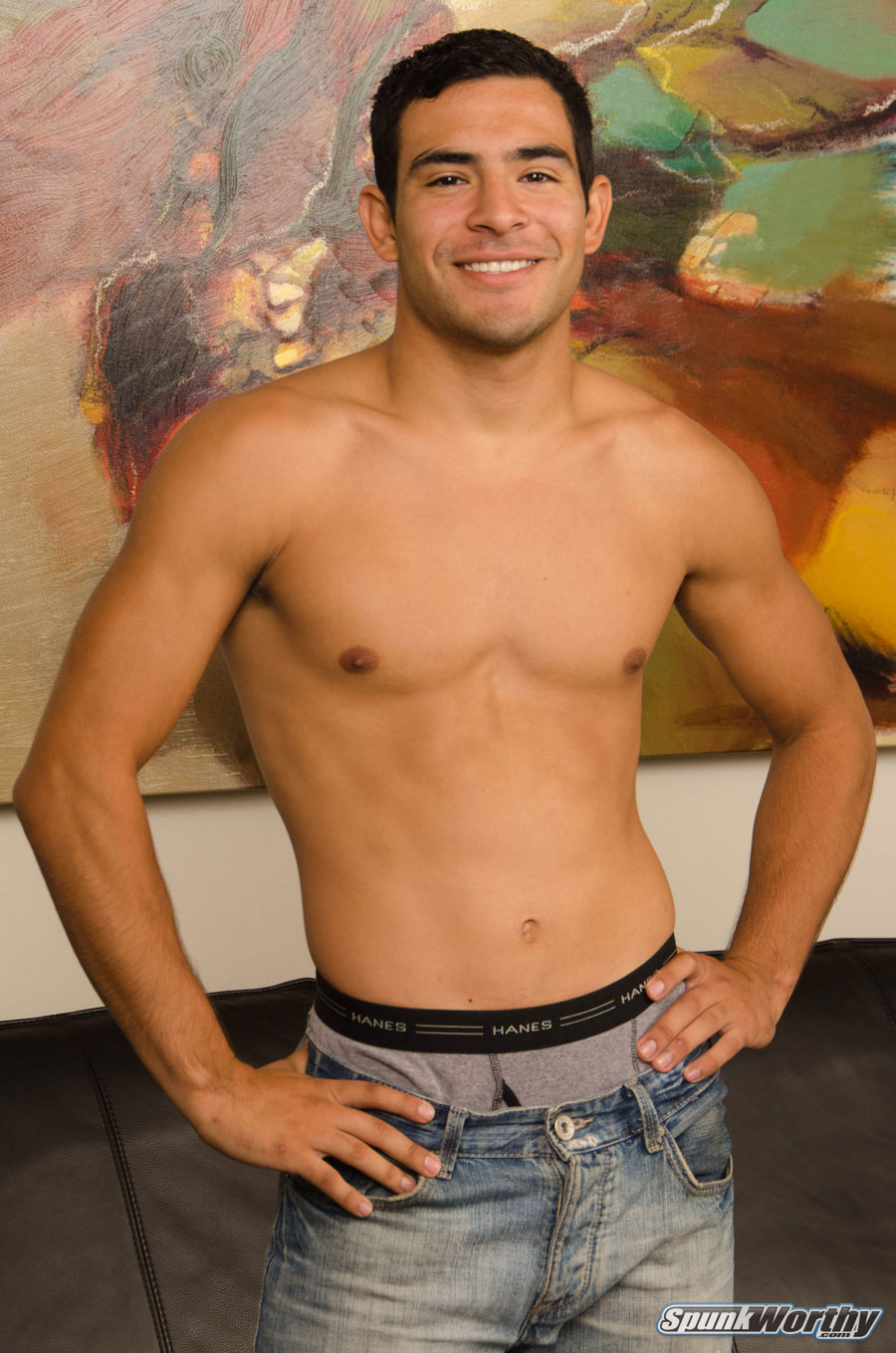 Handsome straight jock in gay porn