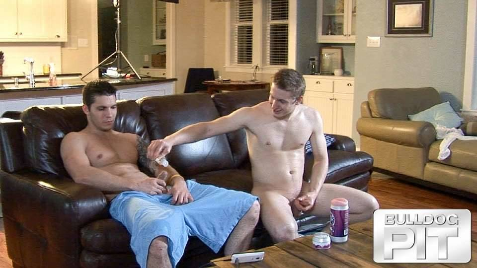 straight guy puts lube on his friends cock