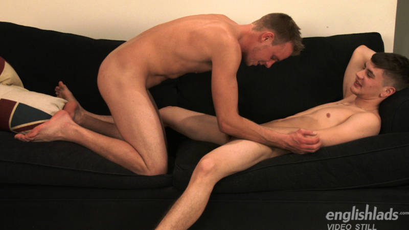 two straight boys sucking cock on a couch