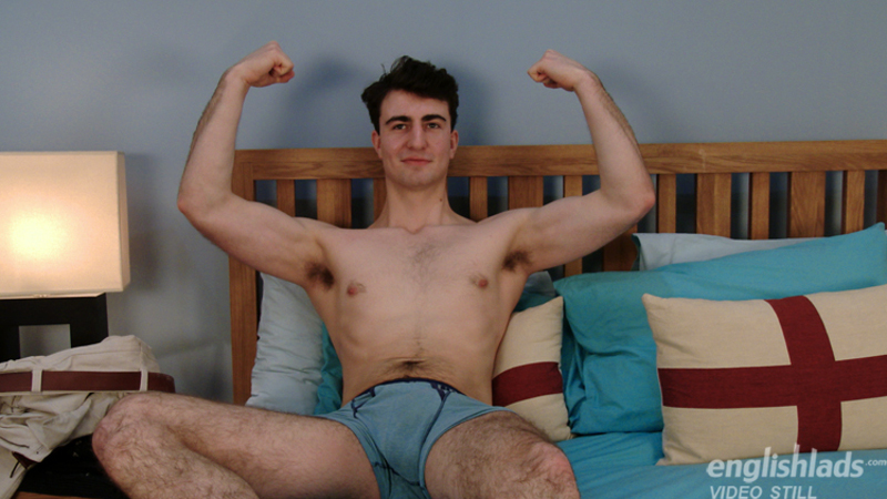 straight guy William Harrison on a bed in his bulging underwear