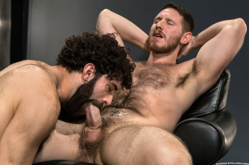 Bearded man sucking the thick cock of his buddy