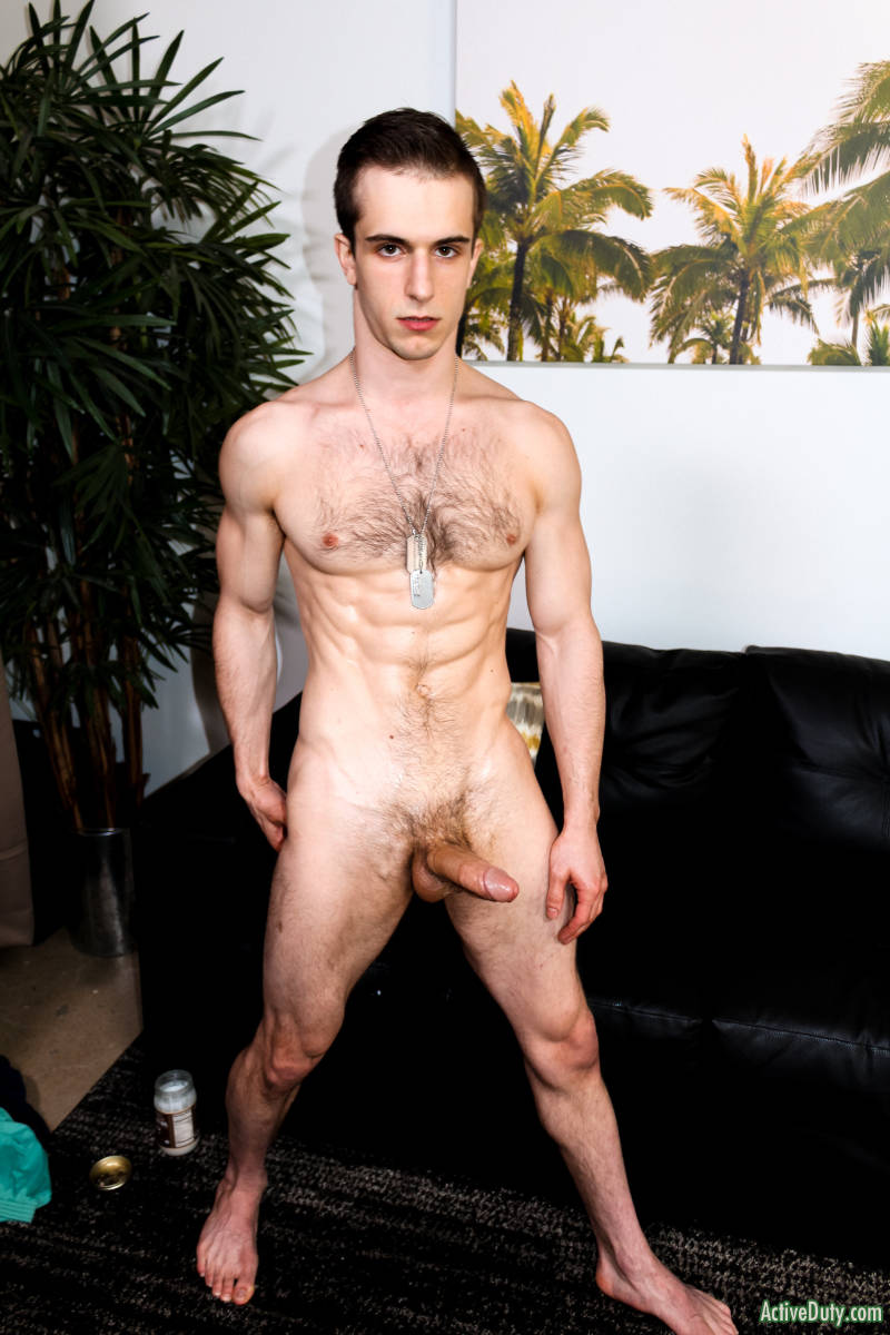 Naked and hairy ripped jock standing