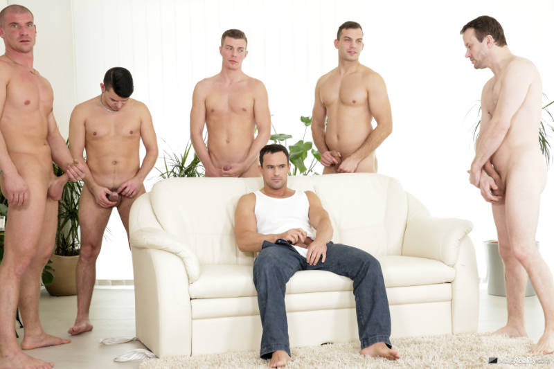 six horny men jerking off together
