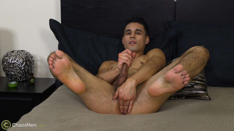 man jerking off and playing with his taint