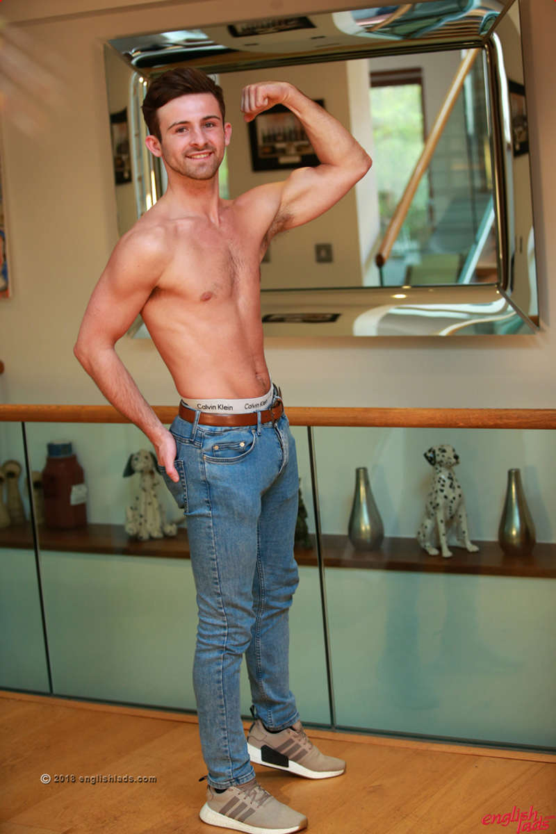 shirtless straight guy in jeans showing off