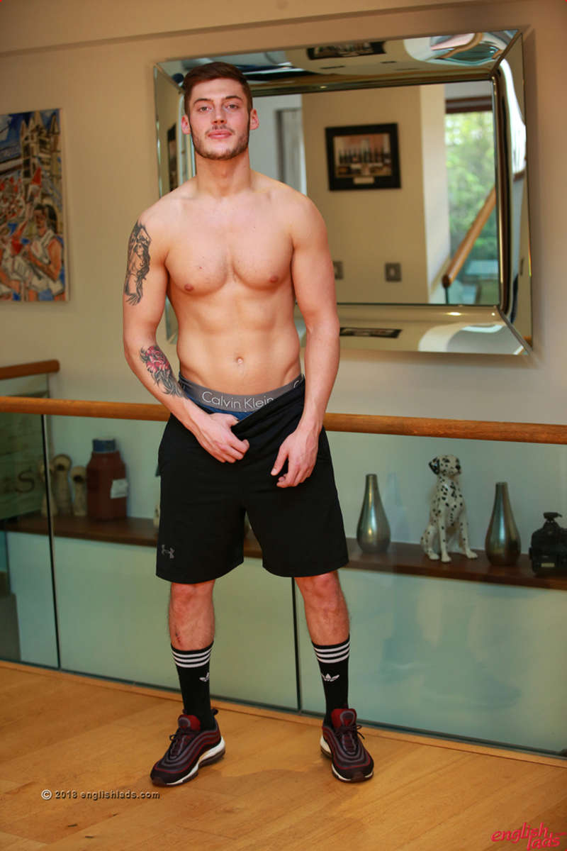 straight shirtless footballer groping his uncut cock in his shorts for the englishlads gay porn site
