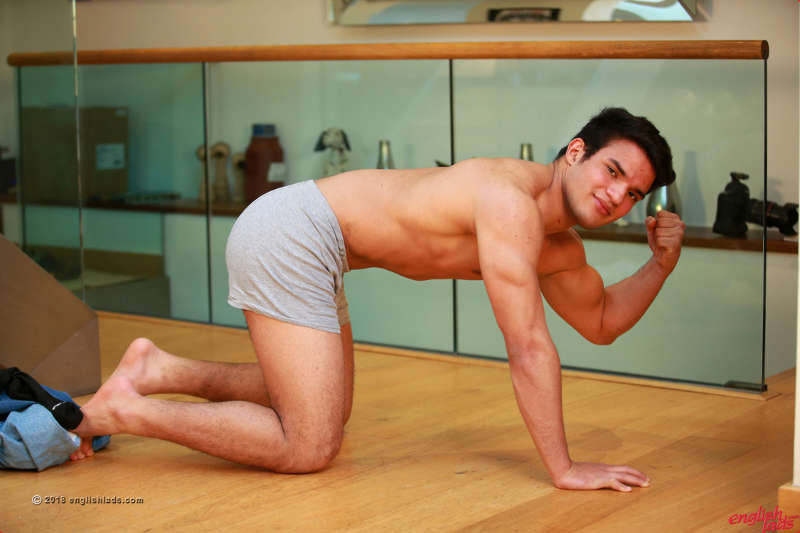 muscled straight jock in his underwear kneeling on all fours