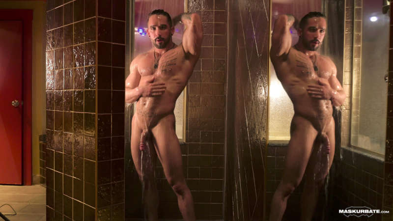muscle man in the shower