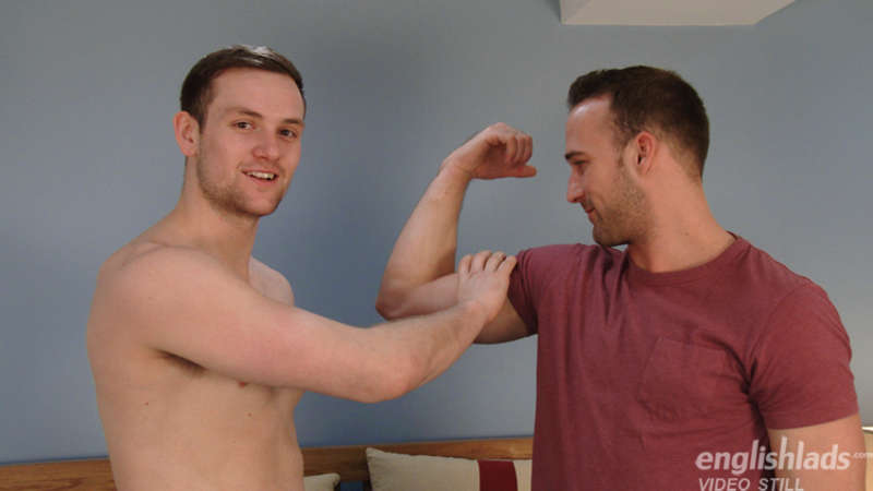 straight guys comparing muscles in a gay porn jerk off video