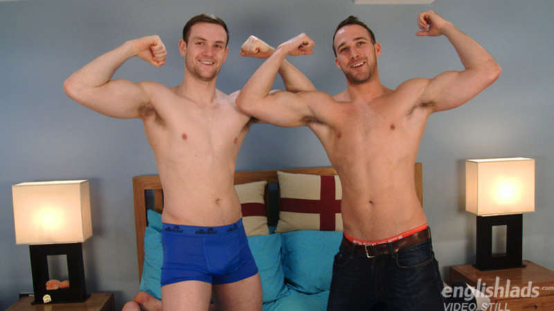 straight jocks comparing muscles in a jerk off and cock frotting video