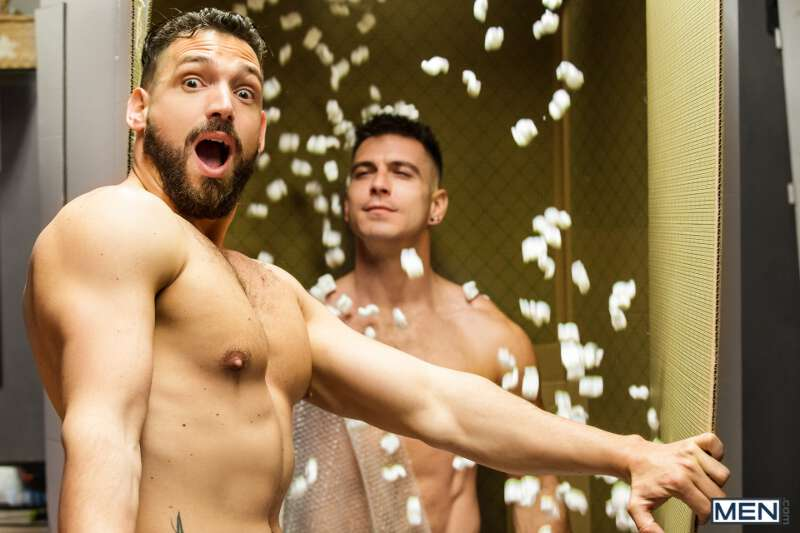 Lucky Enzo Rimenez is surprised by hunk Paddy O'Brian