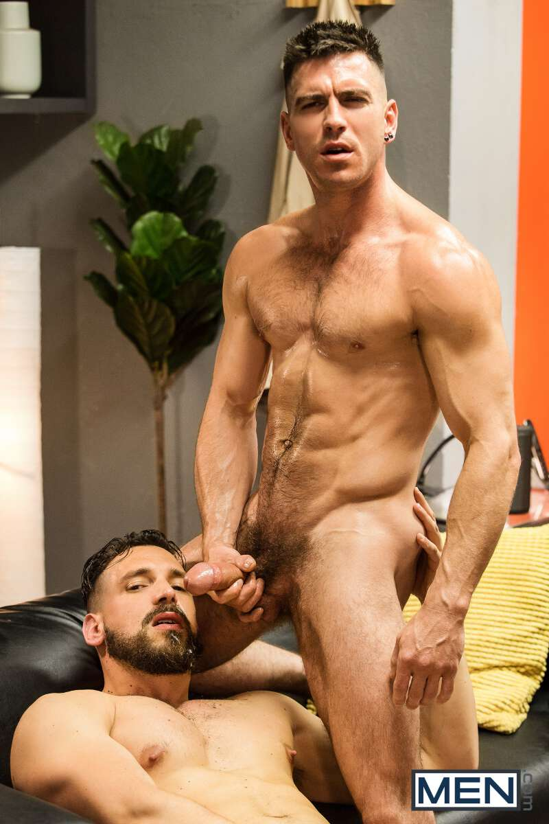 Enzo Rimenez jerks off while Paddy O'Brian aims his fat cock at his face ready to cum