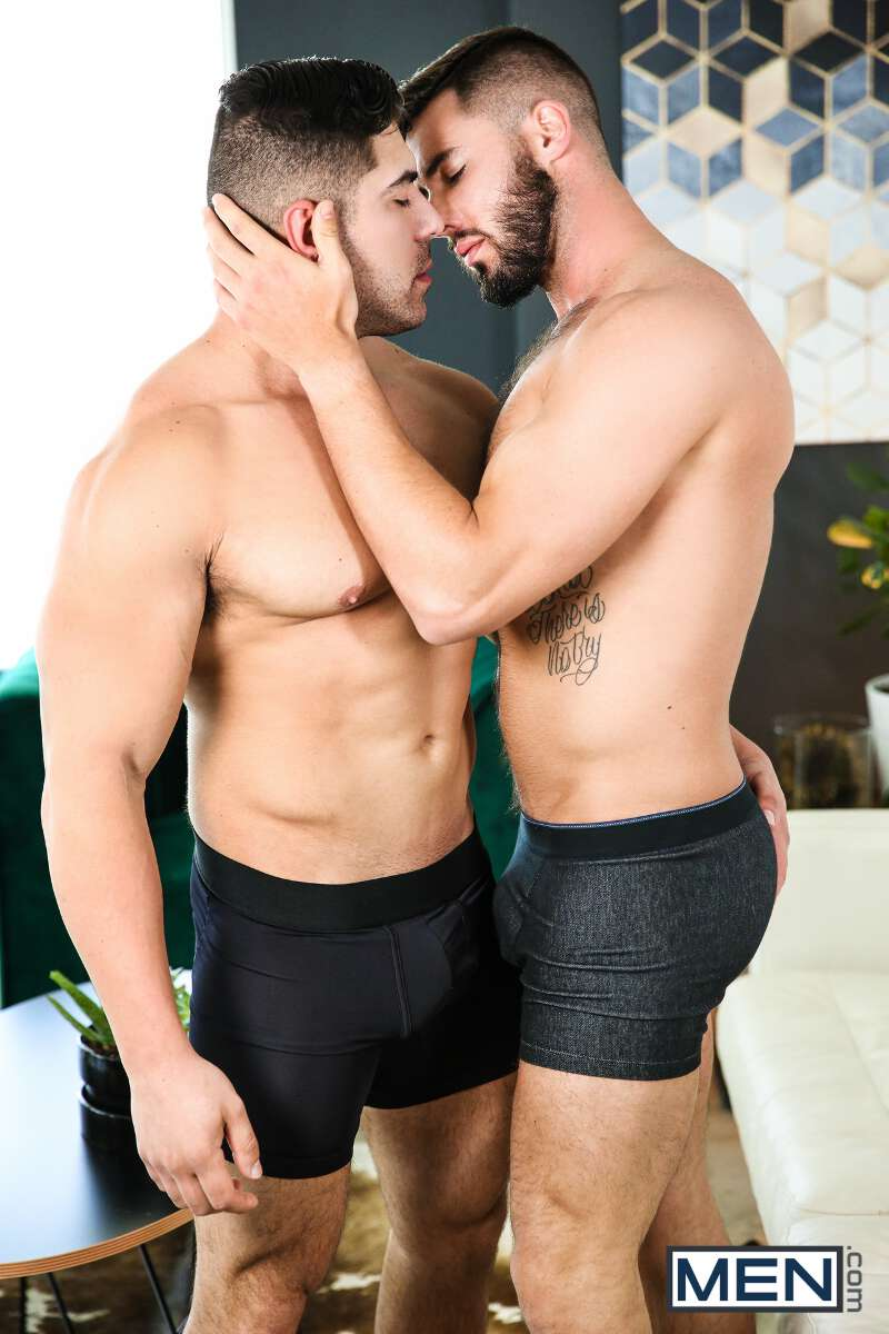 muscle man and hairy straight guy making out in gay porn