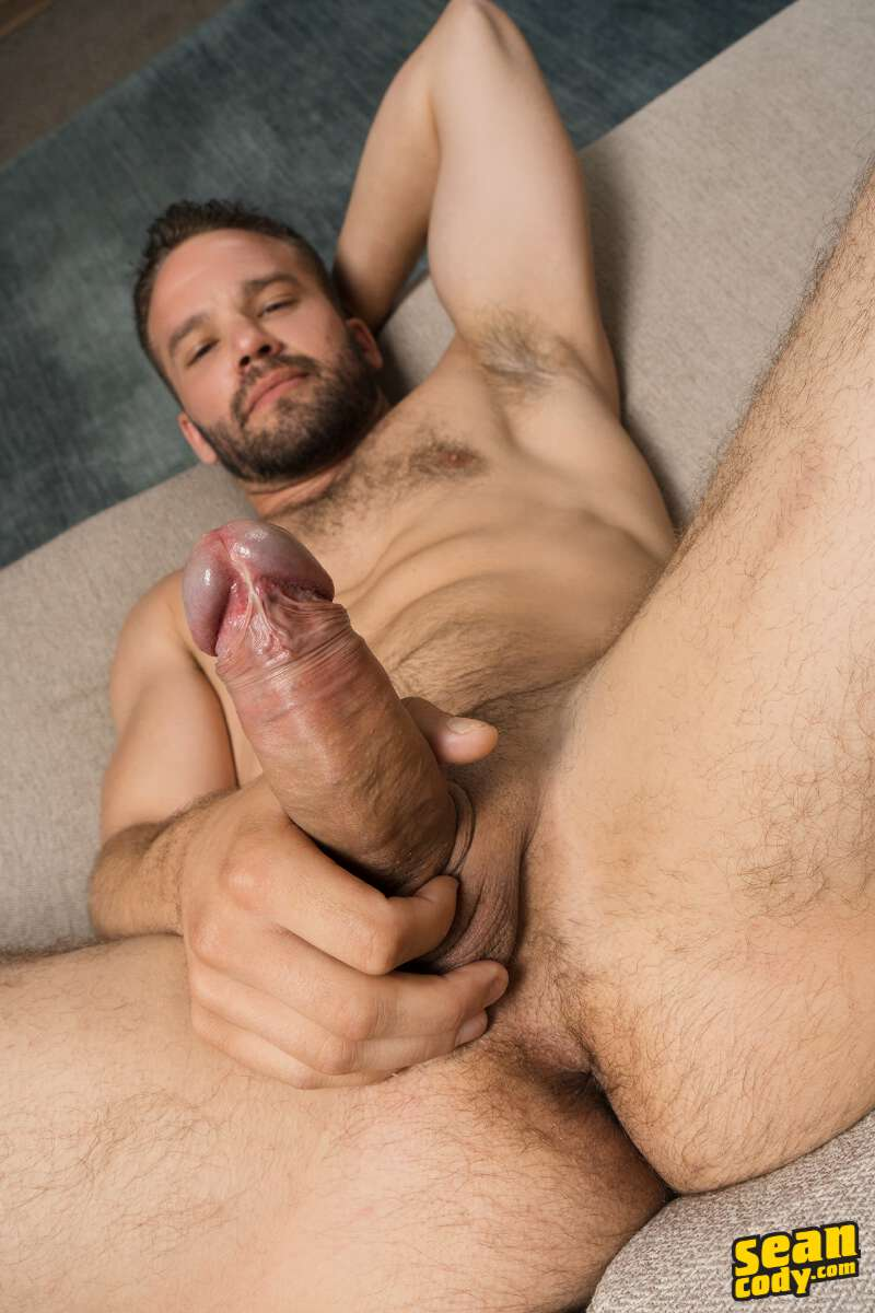 uncut gay jock Jackson showing his hard boner and stroking it on video for the Sean Cody gay porn site