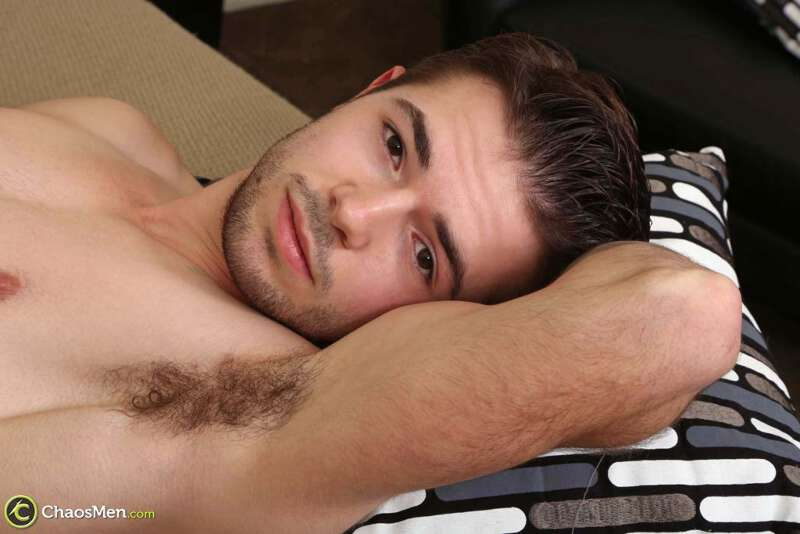 Handsome jock laying down jerking off