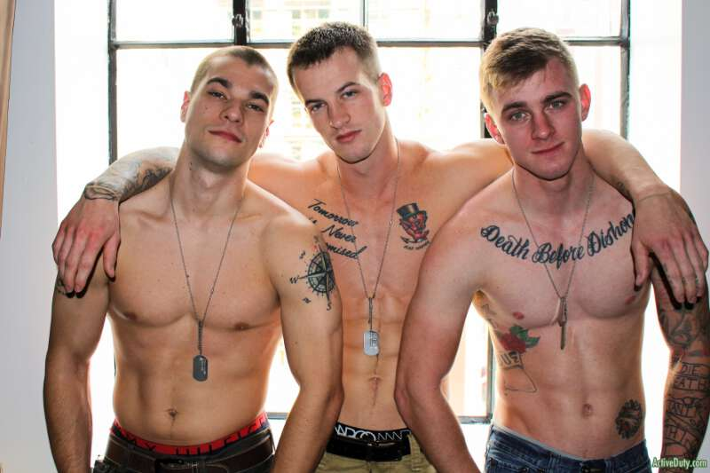 three straight military jocks in bareback gay porn