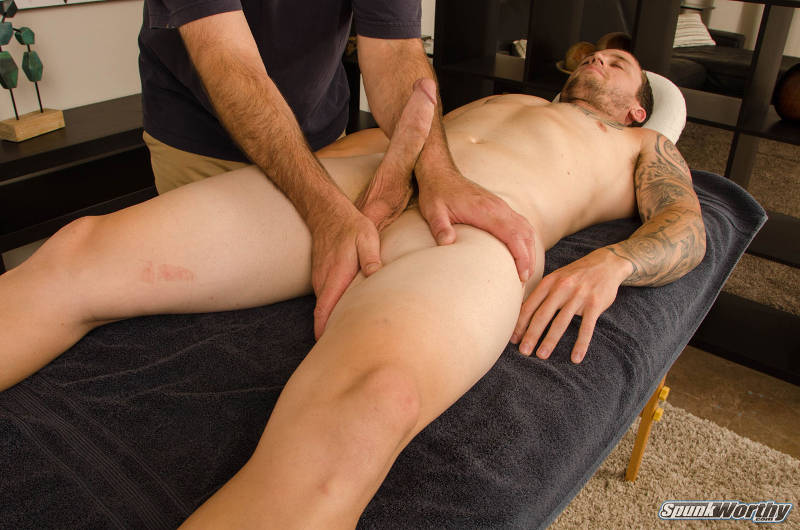 big straight jock cock being played with by another man in a massage