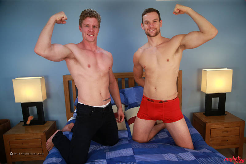 two straight guys in a cock frotting shoot for the Englishlads gay porn site